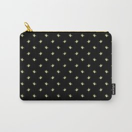 Black Vintage Lily-of-the-Valley Mini-Print Carry-All Pouch