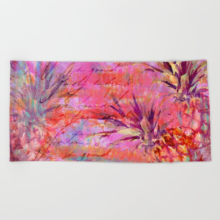Tropical Pineapple pink abstract illustration art Beach Towel