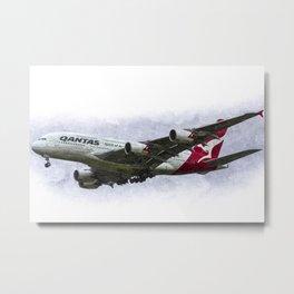 Qantas Airbus A380 art Metal Print