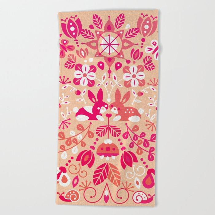 Bunny Lovers – Pink Palette Beach Towel