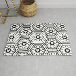 Hearts with floral and hexagonal geometric pattern Rug