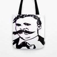 nietzsche Tote Bags featuring  Friedrich Nietzsche Portrait Black and White Modern Art hand done  by The Odd Portrait