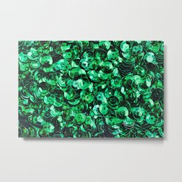 Green Scattered Sequins Metal Print