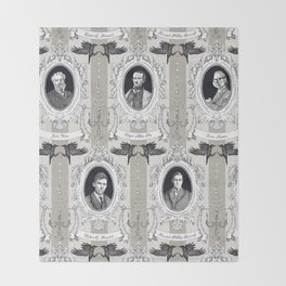 My favorite Authors Toile de Jouy Throw Blanket