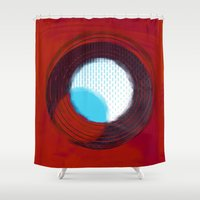 aperture Shower Curtains featuring aperture 2 by Ricochet  Elm  Studio