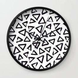 Black Brushstroke Triangel Pattern, Scandinavian Design Wall Clock