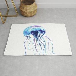Blue & Purple Abstract Watercolor Jellyfish on White Minimalist Art Coast - Sea - Beach - Shore Rug