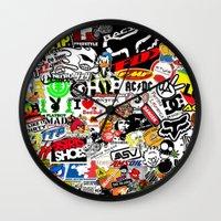 sticker Wall Clocks featuring Sticker Bomb by SOPHIA FREITAS