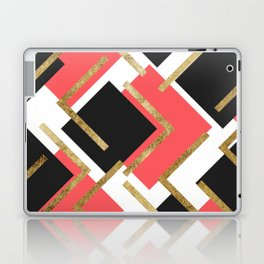 Chic Coral Pink Black and Gold Square Geometric Laptop & iPad Skin