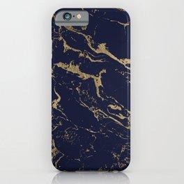 Modern luxury chic navy blue gold marble pattern iPhone Case