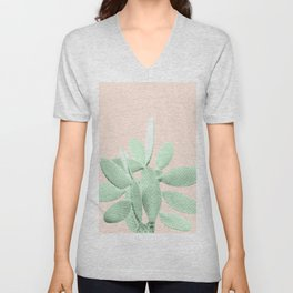 Green Blush Cactus #1 #plant #decor #art #society6 Unisex V-Neck