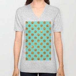 Chic Gold Glitter Polka Dots Pattern On Turquoise Unisex V-Neck
