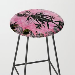 Vintage Bees with Toadflax Botanical illustration collage Bar Stool
