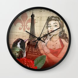 Retro Pinup Girl Vintage Paris Collage Wall Clock