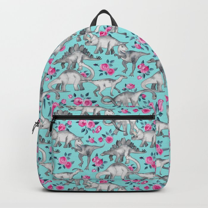 Dinosaurs and Roses - turquoise blue Rucksack