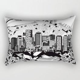 boston city skyline black and white Rectangular Pillow