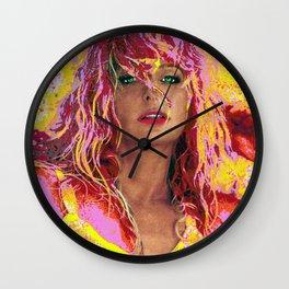 """Farrah Fawcett Digital Art """"Bubble Gum"""" Wall Clock"""
