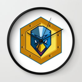 Cyber Punk Chicken Hexagon Icon Wall Clock