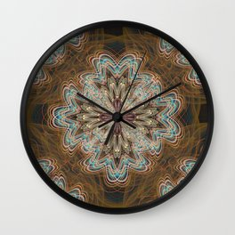 Flowery Shapes (Brown) Wall Clock