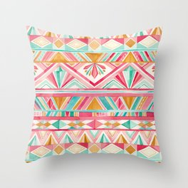 Spring Gems // Pink Gold and Turquoise Geometric Pattern Throw Pillow