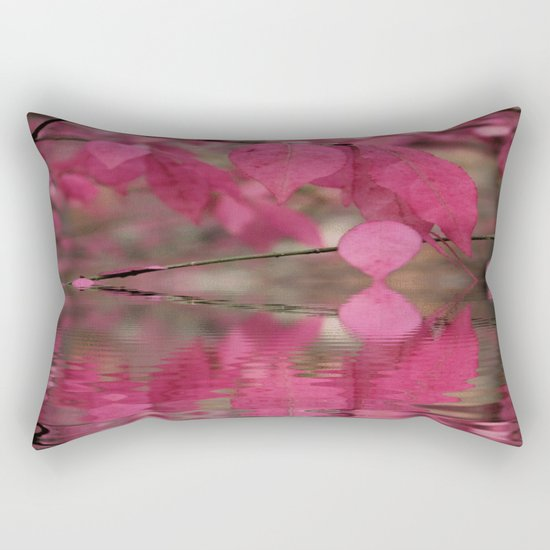 Red Autumn Leaf Reflections Rectangular Pillow