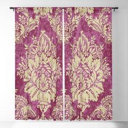 Red Cream Velvet Paisley Floral Blackout Curtain