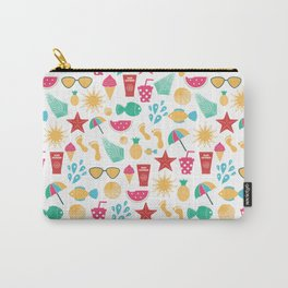 Summer time pattern with colorful beach elements Carry-All Pouch
