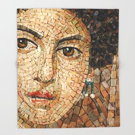 Detail of Woman Portrait. Mosaic art Throw Blanket