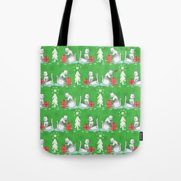 White Christmas Cat in Embroidery Sweater Seamless Vector Pattern Tote Bag