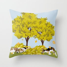 Coonhounds playing in autumn leaves Throw Pillow
