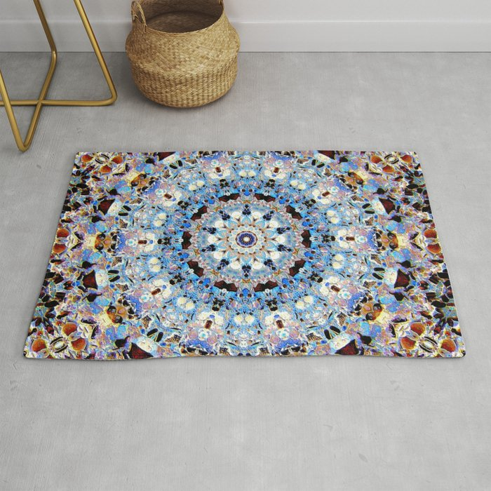 Blue Brown Folklore Texture Mandala Rug By Costa