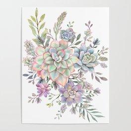 succulent watercolor 8 Poster