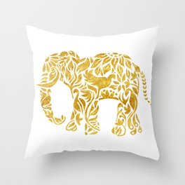 Floral Elephant in Gold Throw Pillow
