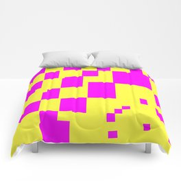 Egg Yellow-Fuchsia City Scapes Abstract Comforters