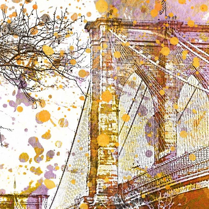 Brooklyn Bridge New York Mixed Media Art Leggings
