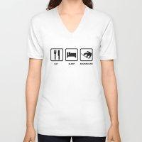 snowboard V-neck T-shirts featuring Eat Sleep Snowboard Mens Black Snowboarding T-Shirt WOW by jekonu