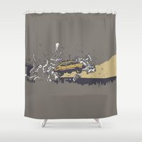 mad max Shower Curtains featuring Mad Max Caravan Smash by Soup & Sausage
