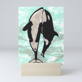 Orcas in love Mini Art Print