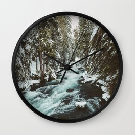 The Wild McKenzie River Portrait - Nature Photography Wall Clock