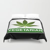 vegetarian Duvet Covers featuring VEGETARIAN Weed by Spyck