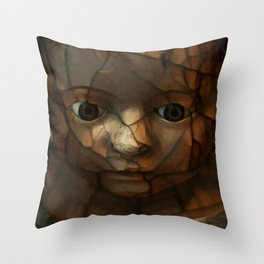 Old Doll Face Throw Pillow