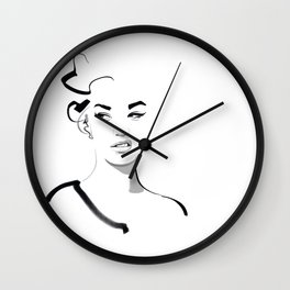 Face disgusted Fashion Illustration Version Wall Clock