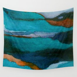 """""""a dark february redux1"""" abstract watercolor painting Wall Tapestry"""