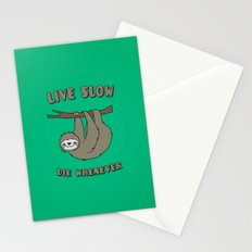 Funny & Cute Sloth 'Live Slow Die Whenever' Cool Statement / Lazy Motto / Slogan Stationery Cards