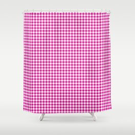 Small Shocking Hot Pink Valentine Pink and White Buffalo Check Plaid Shower Curtain