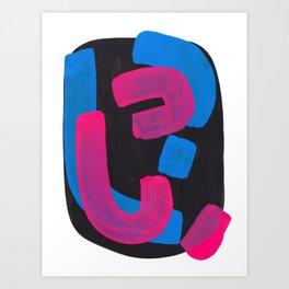 Minimalist Abstract Fun Mid Century Colorful Shapes African Tribal Pattern Magenta Blue Black Jazz Art Print