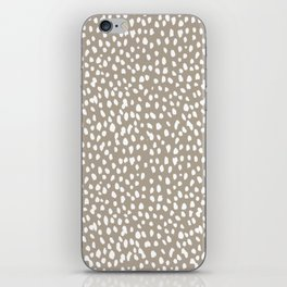 White on Dark Taupe spots iPhone Skin