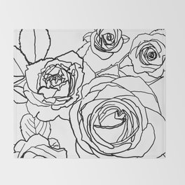 Feminine and Romantic Rose Pattern Line Work Illustration Throw Blanket