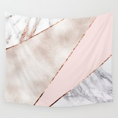 Spliced mixed rose gold marble Wall Tapestry
