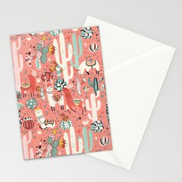Lama in cactus jungles Stationery Cards
